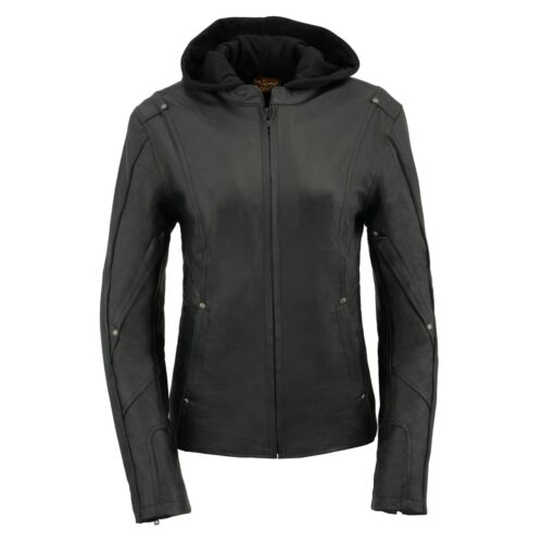 Milwaukee Leather Women  3//4 Hooded Leather Jacket with Side Stetch Fit**MLL2555