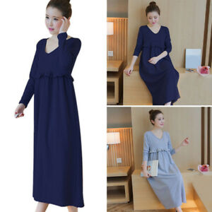 0e82ae0484d51 Image is loading Pop-Maternity-Dress-Solid-Color-Casual-Skirt-Pregnancy-