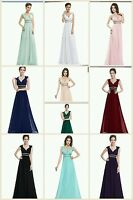 New Long Maxi Bridesmaid Formal Party Prom Evening Dress Gown Size 6 -18 UK SELL