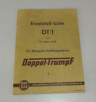 Industrial 1 Mengele Loyal Manure Doppeltrumpf Stand 03/1958 Easy And Simple To Handle Parts Catalog Dt