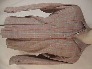 Ermenegildo-Zegna-Mens-Beige-Plaid-Long-Sleeve-Cotton-Shirt-L-Italy-Made
