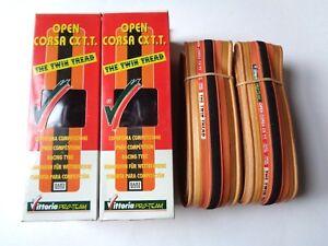 Rare-NOS-Vintage-VITTORIA-039-OPEN-CORSA-CXTT-039-700-x-19C-timetrial-clincher-tyres