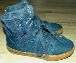 Youth-Boy-039-s-Size-2-Supra-Muska-Skytop-Navy-Blue-Justin-Beiber-Lace-Up-Sneakers