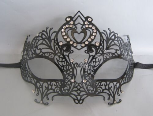 Black Filigree Metal Venetian Party Masquerade Mask No 24 NEW *