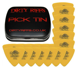 12 Dunlop Tortex Pitch Black Standard Guitar Picks 0.50mm In A Handy Pick Tin