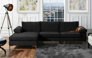 Large Velvet Fabric Sectional Sofa L Shape Couch With Extra Wide