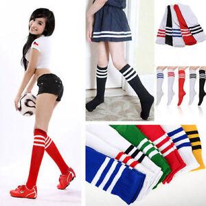Les-Femmes-Football-Baseball-Sport-sur-genou-chaussettes-rayees-cuisse-haute