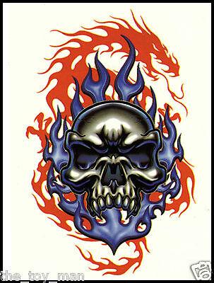 BUY 1 GET 1 FREE EVIL BLUE SKULL RED DRAGON TEMPORARY TATTOO~PUNK GOTH EMO