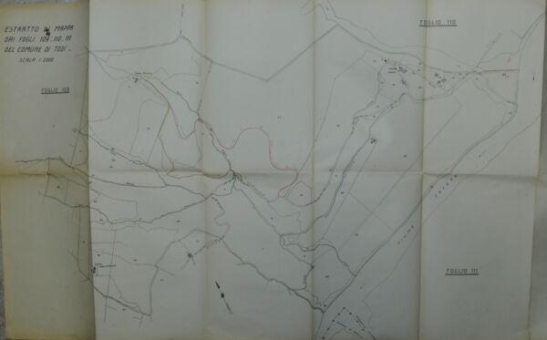 """"""" Comune Todi (1930) Estr. Di Mappa Dai Fogli 109 -110 -111 """" Sconto Complessivo Della Vendita 50-70%"""