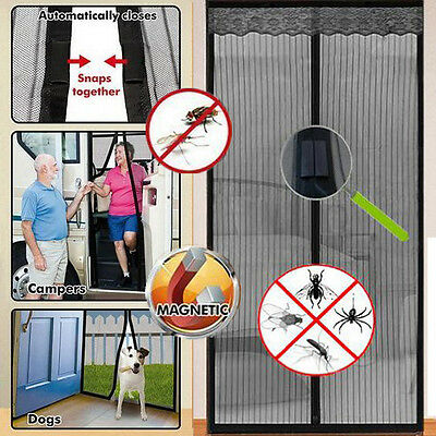 Magic Curtain Door Mesh Magnetic Fastening Hands Free Fly Bug Insect Screen Blk