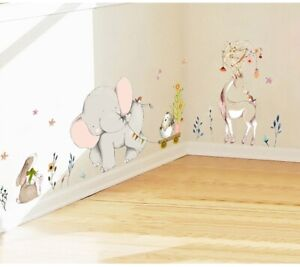 Kids-Room-Decorating-Wall-Sticker-Forest-Flower-Elephant-Rabbit-Giraffe-Animal