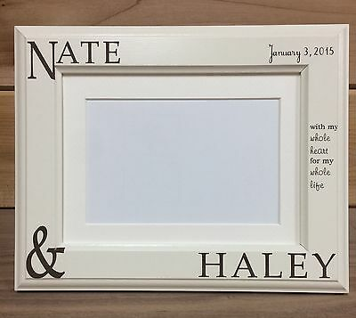 Couple Names Picture Frame, 4x6 & 5x7, Laser Engraved, Valentine's, Wedding Gift