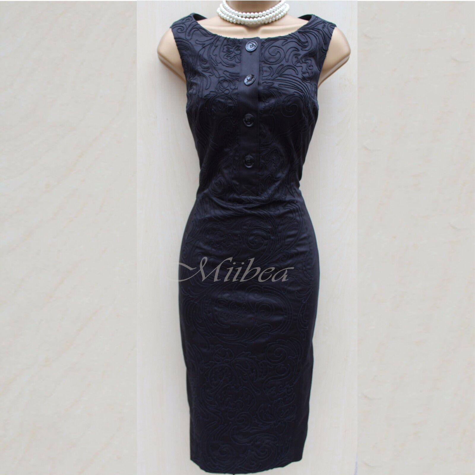 Karen Millen schwarz Cotton Embroiderot Cut Work Cocktail Party Wiggle Dress 16 UK