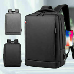 """15.6"""" Fashion Mens Canvas School Backpack Casual Notebook Travel Laptop Bag BL"""