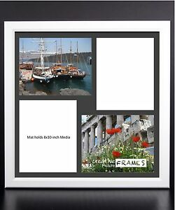 Creativepf 4 Opening Multi 8x10 White Picture Frame W 20x20 Black