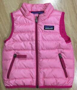 Patagonia Full Zip Down Sweater Vest Baby Toddler Size 6 Months Pink