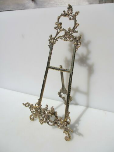 """Brass Easel Picture Stand Plate Holder Rack Display Antique French Rococo 19/""""H"""