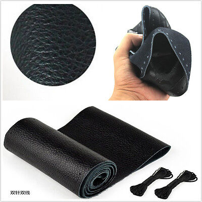 Black Genuine Leather Steering Wheel Cover Non-Slip Sweat Neeled Thread For BMW
