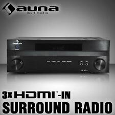 5.1 HIFI SURROUND HEIMKINO RECEIVER VOLL VERSTÄRKER RADIO TUNER 3x HDMI MIC IN
