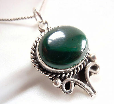 Malachite Rope Style Perimeter Necklace 925 Sterling Silver Oval New k15a