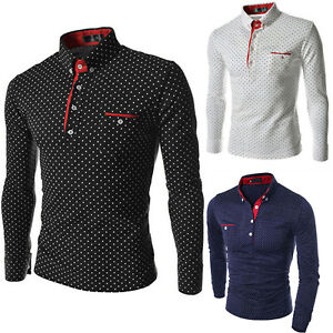 Mens-Luxury-Polo-Shirt-Long-Sleeve-Collared-Top-Polka-Dot-Casual-Slim-Fit-Blouse