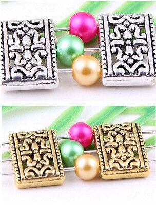 Wholesale 16/38Pcs Tibetan Silver/Gold(Lead-Free)Rectangle 3 Hole Connectors17mm