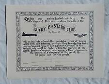 WW 2 US AAF B-17 Bomber 25 Mission Lucky Bastard Club Diploma, Replica