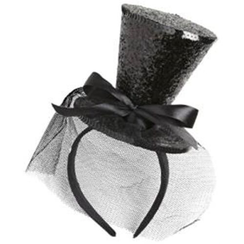 Can Cylinder Burlesque Dancer Miniature Black Glitter Mini Top Hat Headband