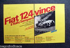 P146 - Advertising Pubblicità -1972- FIAT 124 ,RALLY SEMPERIT CAMPIONATO EUROPEO