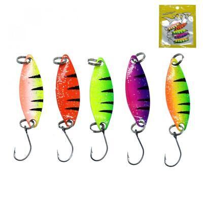 5pcs//lot Colorful Metal Spinner Spoon Fishing Lure 2g 3.5cm Metal Casting Jig