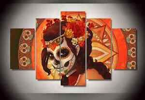 Image is loading Framed-Pictures-Canvas-Prints-Sugar-Skull-Day-of- & Framed Pictures Canvas Prints Sugar Skull Day of the Dead Face Wall ...