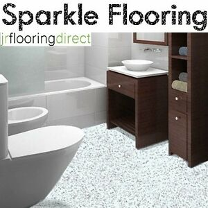 White Granite Effect Sparkly Flooring Glitter Vinyl Floor Bathroom