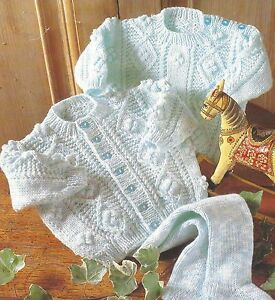 Baby-Sweater-Cardigan-Leggings-Knitting-Pattern-18-24-034-DK-Cables-amp-Bobbles-738