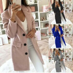 Warm-Women-039-s-Winter-Ladies-Overcoat-Sleeve-Trench-Coat-Blazer-Long-Jacket-Woolen