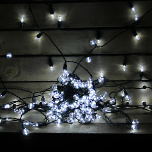70 Large White Berry Christmas Lights Outdoor Patio Decorations ...