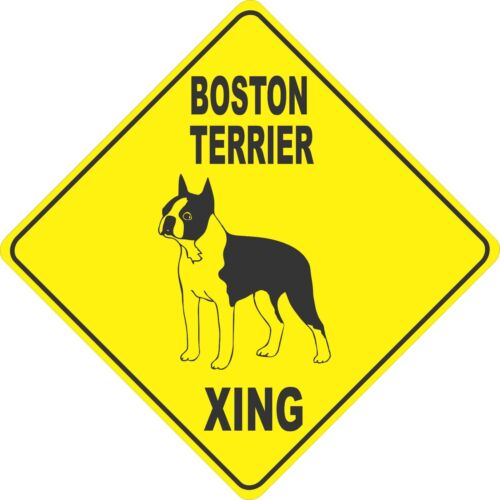 "12/""x12/"" plastic funny Boston Terrier sign xing Crossings animal dog Novelty"