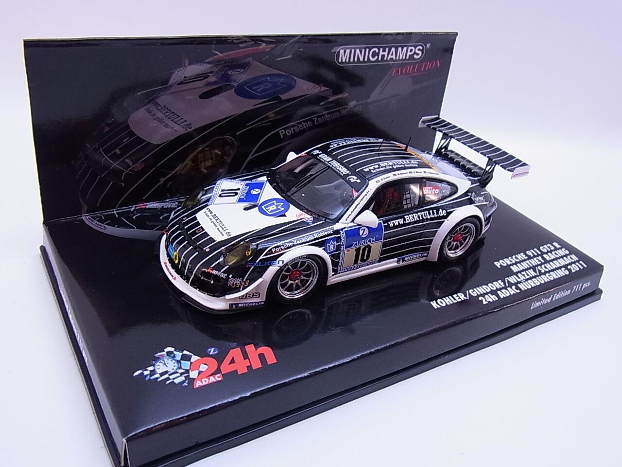 Lot 26147   MINICHAMPS 437116110 Porsche 911 gt3 R voiture miniature 1 43 dans neuf dans sa boîte
