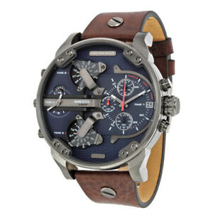 DIESEL-DZ7314-Mr-Daddy-Dual-Time-Chronograph-Dial-Gunmetal-Brown-Men-039-s-Watch