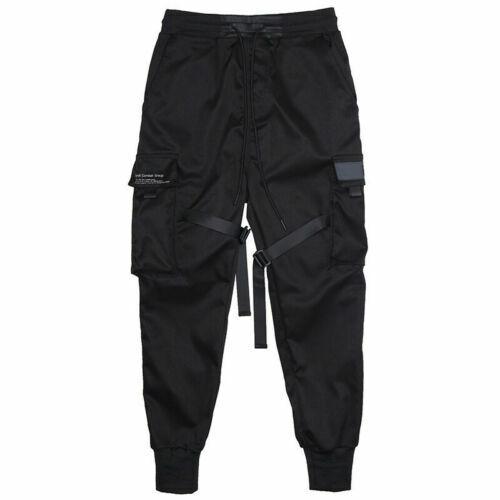 Men Black Harajuku Tactical Cargo Pants Joggers Harem Pants Hip Hop Trousers
