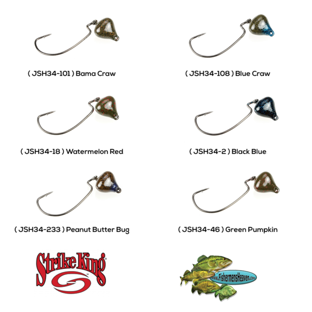 Strike King Jigheads JSH34-108 Jointed Structure Rig Blue Craw 3//4oz 5//0 Gamakat