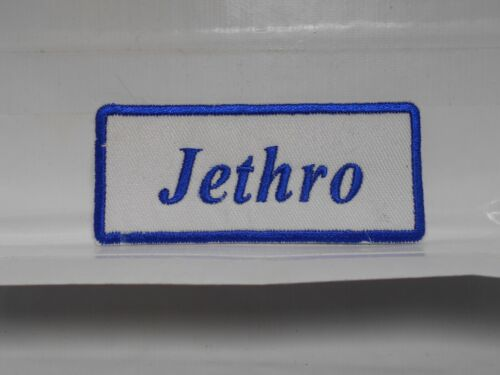 IRON ON NAME PATCH ASSORTED COLORS JETHRO  NEW EMBROIDERED  SEW