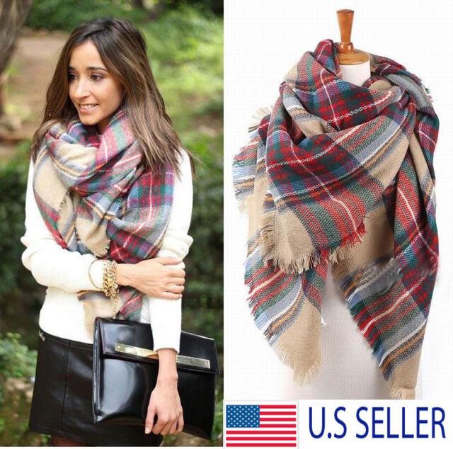 414fd03684036 Buy Lady Women Blanket Oversized Tartan Scarf Wrap Shawl Plaid Cozy Checked  Pashmina online