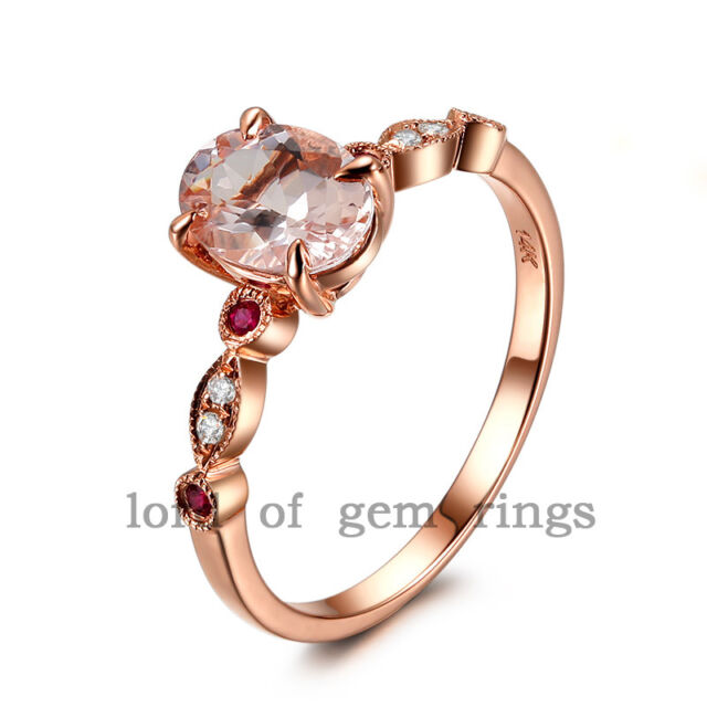 Antique Style Art Deco Morganite Rubies Diamonds 14K Rose Gold Claw Prongs Ring