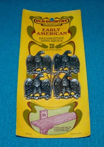 4 Vintage//New EAGLE w//ARROWS /& BRANCH Metal Applique @ BARCLAY Early American