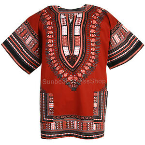 Cotton African Dashiki Mexican Poncho Hippie Tribal Boho Shirt Brick Red ad19b