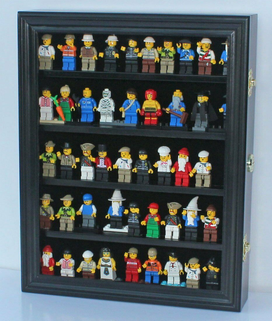 Lego Minifigure Display Case Wall Cabinet Shadow Box, solid wood, LG-CN30-BLA