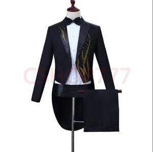 19-Men-039-s-slim-tuxedo-Rhinestones-Dress-formal-party-party-coats-Jackets-show-hot