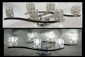 6 led quadrato cristallo cromato 78.7cmw applique lampada di