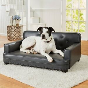 Pet Leather Sofa Bed Dog Luxury Faux Gray Enchanted Home Library Cat