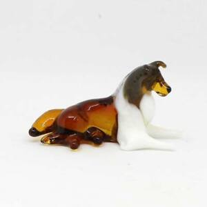 Middle-blown-glass-figurine-Dog-Rough-Collie-lying-Russian-Murano-153